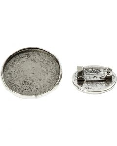 Broche, d: 18+25 mm, antiek zilver, 6 stuk/ 1 doos