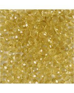 Facet kralen, d: 4 mm, gatgrootte 1 mm, geel, 45 stuk/ 1 streng