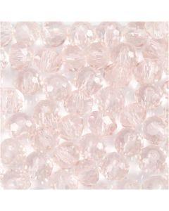 Facet kralen, d: 4 mm, gatgrootte 1 mm, lichtroze, 45 stuk/ 1 streng