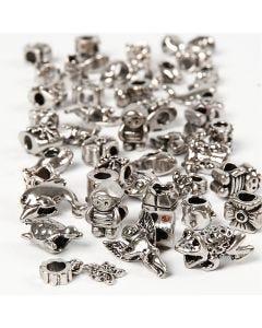 Fashion links, d: 7-18 mm, gatgrootte 4 mm, Inhoud kan variëren , antiek zilver, 100 gr/ 1 doos