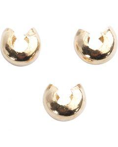 Metalen hoes, d: 5 mm, verguld, 50 stuk/ 1 doos