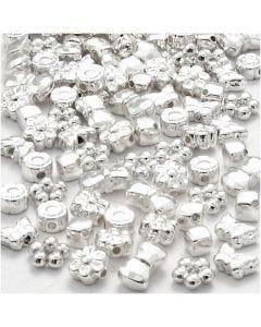Figuurkralen, afm 4-10 mm, gatgrootte 1-1,5 mm, verzilverd, 200 stuk/ 1 doos
