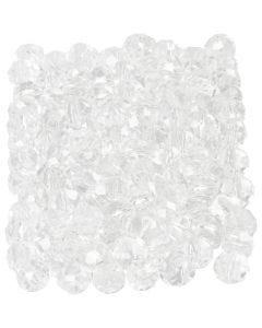 Facet kralen, afm 3x4 mm, gatgrootte 0,8 mm, kristal, 100 stuk/ 1 doos