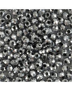 Facet kralen, afm 3x4 mm, gatgrootte 0,8 mm, metallic grijs, 100 stuk/ 1 doos