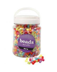 Plastic kralen mix, d: 7 mm, gatgrootte 3,5 mm, diverse kleuren, 700 ml/ 1 Doosje