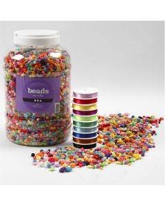 Plastic kralen en elastisch koord, afm 6-20 mm, gatgrootte 1,5-6 mm, 1 doos