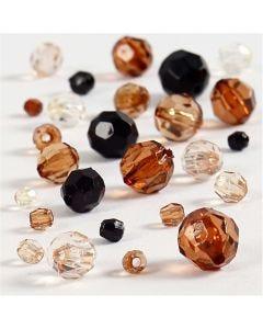 Facetkralen mix, afm 4-12 mm, gatgrootte 1-2,5 mm, goud, 50 gr/ 1 doos