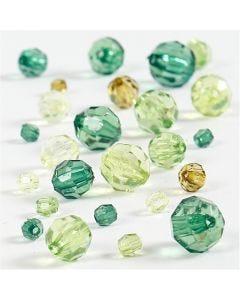 Facetkralen mix, afm 4-12 mm, gatgrootte 1-2,5 mm, groen glitter, 45 gr/ 1 doos