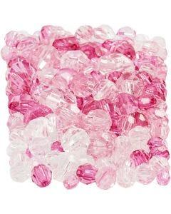 Facetkralen mix, afm 4-12 mm, gatgrootte 1-2,5 mm, pink (081), 250 gr/ 1 doos