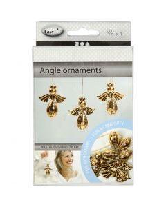 Engel ornamenten, H: 5,5 cm, B: 4,5 cm, goud, 4 stuk/ 1 doos