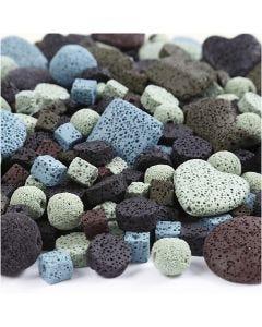 Lava kralen mix, afm 6-37 mm, gatgrootte 1+2 mm, diverse kleuren, 20 slagen/ 1 doos