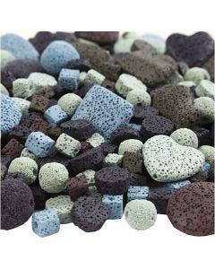 Lava kralen mix, afm 6-37 mm, gatgrootte 1+2 mm, Inhoud kan variëren , diverse kleuren, 20 slagen/ 1 doos