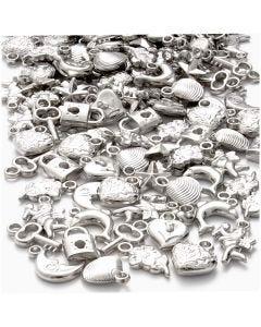 Zilveren bedels, afm 15-20 mm, gatgrootte 3 mm, 80 gr/ 1 doos