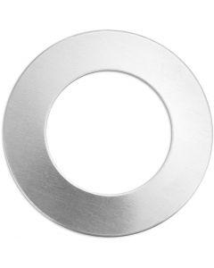 Metalen label, ring, d: 32 mm, gatgrootte 19,32 mm, dikte 1,3 mm, aluminium, 9 stuk/ 1 doos