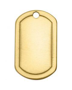 Metalen label, vierkant, afm 32x20 mm, gatgrootte 2,85 mm, dikte 1 mm, koper, 4 stuk/ 1 doos