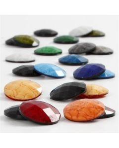 Cabochons, d: 14 mm, dikte 4 mm, diverse kleuren, 300 div/ 1 doos