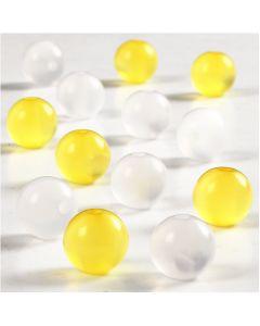 Resin kralen, d: 10 mm, gatgrootte 2 mm, wit, geel, 25 stuk/ 1 doos