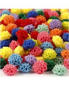 Bloemkralen, afm 15x8 mm, gatgrootte 1,5 mm, diverse kleuren, 10x25 stuk/ 1 doos, 300 ml