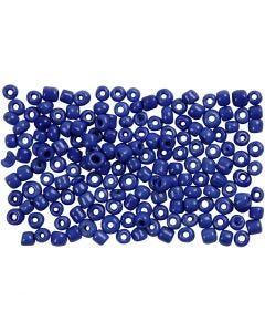 Rocailles, d: 3 mm, afm 8/0 , gatgrootte 0,6-1,0 mm, blauw, 500 gr/ 1 doos