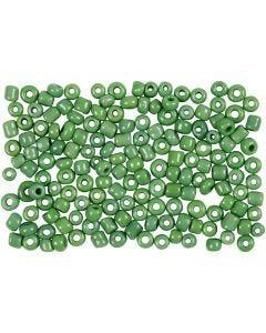 Rocailles, d: 3 mm, afm 8/0 , gatgrootte 0,6-1,0 mm, groen, 500 gr/ 1 doos