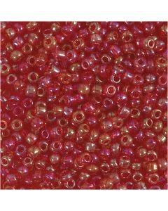 Rocailles, d: 3 mm, afm 8/0 , gatgrootte 0,6-1,0 mm, kersen glans, 25 gr/ 1 doos