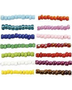 Rocailles, d: 3 mm, afm 8/0 , gatgrootte 0,6-1,0 mm, turquoise, 14x25 gr/ 1 doos