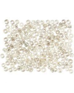 Rocailles, d: 3 mm, afm 8/0 , gatgrootte 0,6-1,0 mm, zilver, 500 gr/ 1 doos