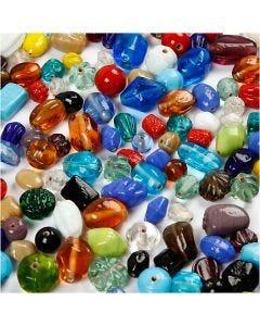 Glaskralen mix, afm 7-18 mm, gatgrootte 1 mm, diverse kleuren, 1000 gr/ 1 doos