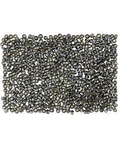 Rocailles, d: 1,7 mm, afm 15/0 , gatgrootte 0,5-0,8 mm, grey green, 500 gr/ 1 zak