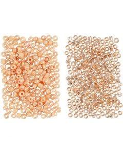 Rocailles, d: 1,7 mm, afm 15/0 , gatgrootte 0,5-0,8 mm, peach, light peach, 2x7 gr/ 1 doos