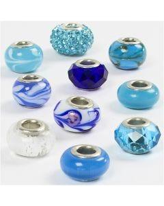 Glas link kralen, d: 13-15 mm, gatgrootte 4,5-5 mm, blauw harmonie, 10 div/ 1 doos