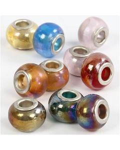 Glas link kralen, d: 13-15 mm, gatgrootte 4,5-5 mm, 10 div/ 1 doos