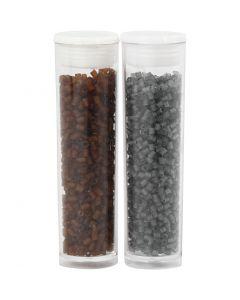 2-cut, d: 1,7 mm, afm 15/0 , gatgrootte 0,5 mm, bruin, transparant grijs, 2x7 gr/ 1 doos