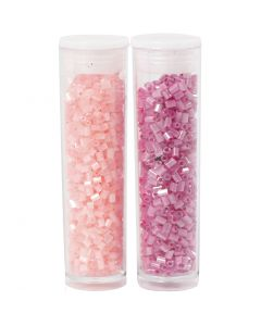2-cut, d: 1,7 mm, afm 15/0 , gatgrootte 0,5 mm, roze, transparant roze, 2x7 gr/ 1 doos