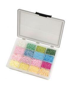 Rocailles, d: 3+4 mm, afm 6/0+8/0 , gatgrootte 0,6-1,0+0,9-1,2 mm, pastel geel, 16x100 gr/ 1 doos