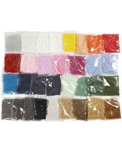 Rocailles, d: 1,7+3+4 mm, afm 6/0+8/0+15/0 , gatgrootte 0,5-1,2 mm, 32x100 gr/ 1 doos