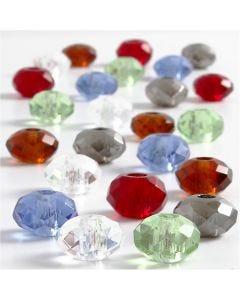 Glas link kralen, afm 9x14 mm, gatgrootte 4 mm, diverse kleuren, 24 div/ 1 doos
