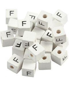 Letterkralen, F, afm 8x8 mm, gatgrootte 3 mm, wit, 25 stuk/ 1 doos