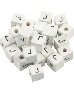 Letterkralen, J, afm 8x8 mm, gatgrootte 3 mm, wit, 25 stuk/ 1 doos