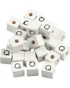 Letterkralen, Q, afm 8x8 mm, gatgrootte 3 mm, wit, 25 stuk/ 1 doos