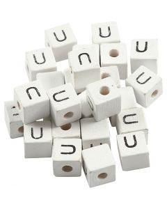 Letterkralen, U, afm 8x8 mm, gatgrootte 3 mm, wit, 25 stuk/ 1 doos