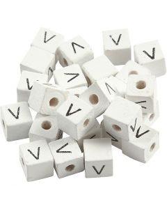 Letterkralen, V, afm 8x8 mm, gatgrootte 3 mm, wit, 25 stuk/ 1 doos