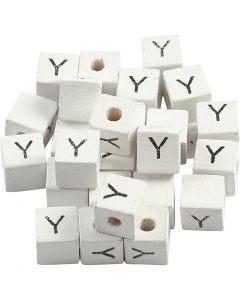 Letterkralen, Y, afm 8x8 mm, gatgrootte 3 mm, wit, 25 stuk/ 1 doos