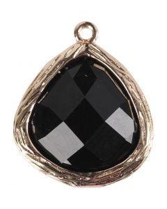 Sieradenhanger, afm 15x18 mm, gatgrootte 1 mm, zwart, 1 stuk