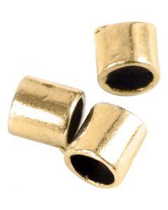 Knijpkralen tube, afm 2x2 mm, gatgrootte 1,4 mm, verguld, 80 stuk/ 1 doos
