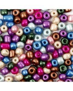 Rocailles, d: 5 mm, afm 4/0 , gatgrootte 1,2 mm, metallic kleuren, 720 gr/ 1 Doosje