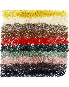 Plastic Kralen, d: 6 mm, gatgrootte 1,5 mm, diverse kleuren, 10x40 gr/ 1 doos