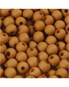 Plastic Kralen, d: 6 mm, gatgrootte 2 mm, bruin, 40 gr/ 1 doos