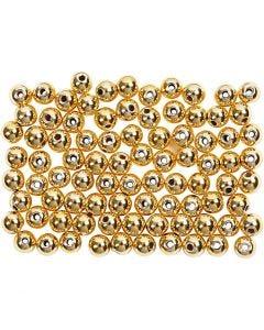Kralen, d: 4 mm, gatgrootte 0,7 mm, goud, 150 stuk/ 1 doos