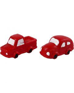 Miniatuur figuren, H: 20 mm, L: 40 mm, rood, 2 stuk/ 1 doos